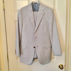 Other - Men's Blue Seersucker Suit Size 38R Pants 34x30